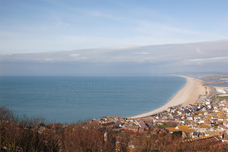 chesil beach by sue hutchings at dorset studio